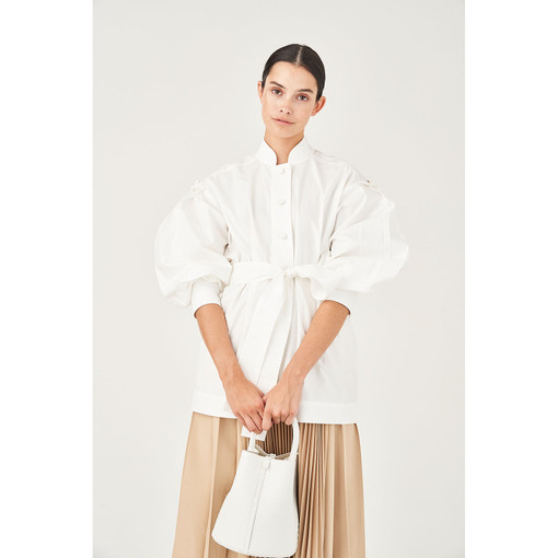 Oroton Cotton Full Sleeve Belted Tunic Shirt in Natural White and 100% Cotton for female