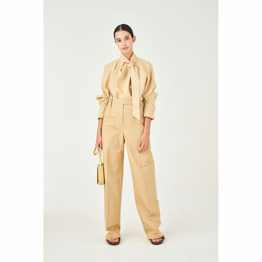 Oroton Cotton-Linen Patch Pocket Wide Leg Pant in Wheat and 77% Cotton 23% Linen for female