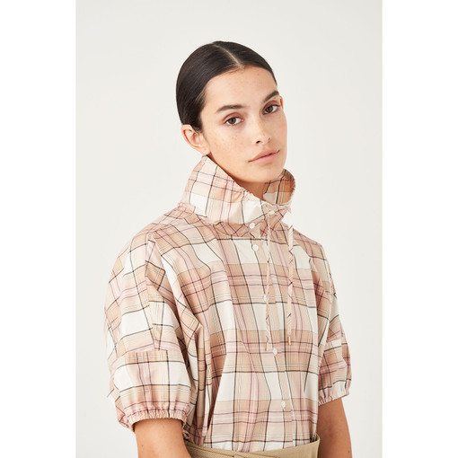 Oroton Cotton Drawstring Detail Check Shirt in Rosewood Check and 100% Cotton for female