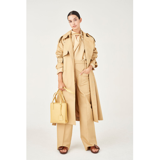 Oroton Cotton-Linen Snap Detail Trench Coat in Wheat and 77% Cotton 23% Linen for female