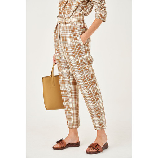 Oroton Cotton Blend High Waisted Check Pant in Dark Rye Check and 70% Cotton 30% Polyester for female