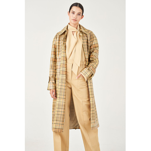 Oroton Coated Cotton-Linen Check Trench Coat in Straw Check and 67% Cotton 33% Linen, 100% Pu Coating for female