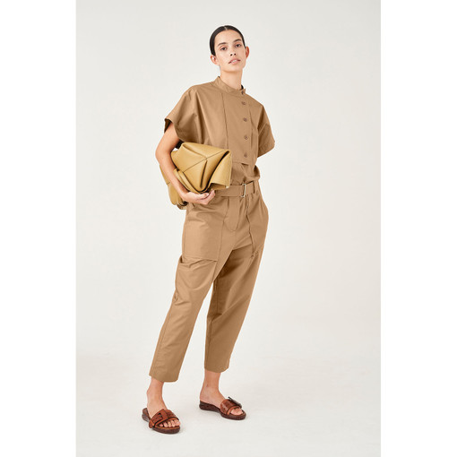 Oroton Cotton Short Sleeve Utility Jumpsuit in Dark Rye and 100% Cotton for female