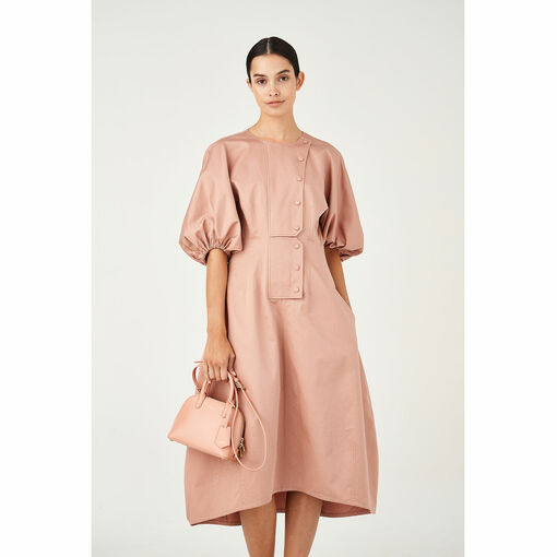 Oroton Sateen Cotton-Linen Sculptured Sleeve Dress in Rosewood and 70% Cotton 30% Linen for female