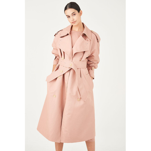 Oroton Cotton-Linen Button Detail Trench Coat in Rosewood and 77% Cotton 23% Linen for female