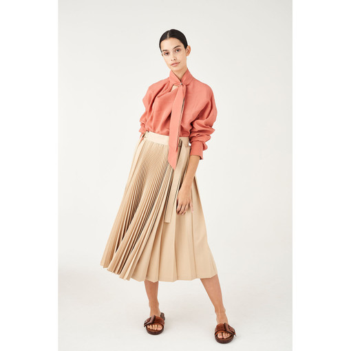 Oroton Tab Detail Contrast Pleat Skirt in Wheat and 100% Polyester for female