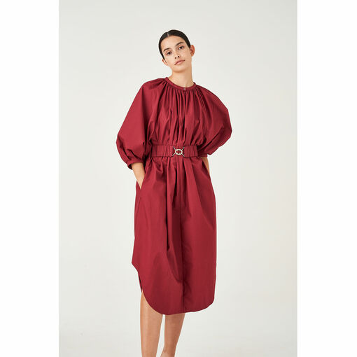 Oroton Poplin Full Sleeve Belted Dress in Wineberry and 100% Cotton for female
