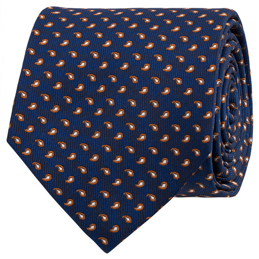 Oroton Tate Mini Paisley Tie in Navy and 100% Silk for male