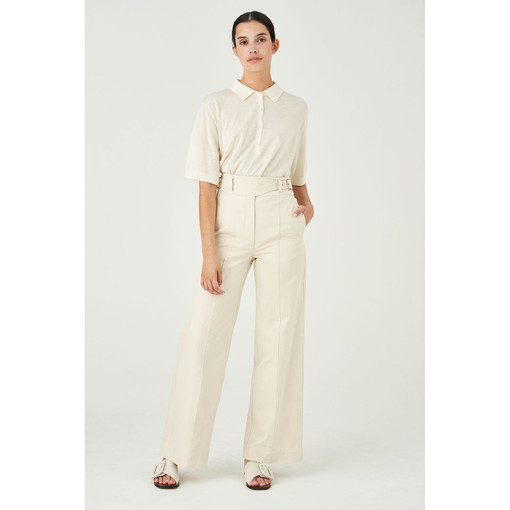 Oroton Cotton Drill Wide Leg Utility Pant in Cream and 100% Cotton for female