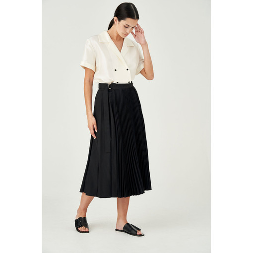 Oroton Tab Detail Contrast Pleat Skirt in Black and 100% Polyester for female