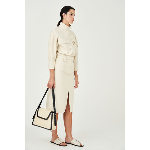 Oroton Cotton Drill Utility Shirt Dress in Cream and 100% Cotton for female