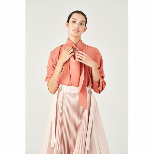 Oroton D-Ring Detailed Cowl Neck Blouse in Deco Rose and 75% Viscose 25% Polyester for female