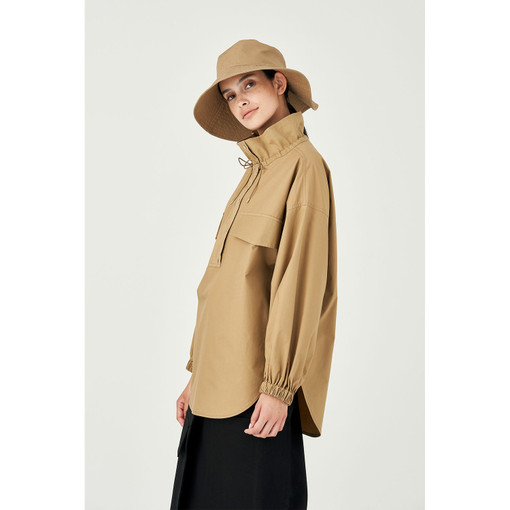 Oroton Cotton Long Sleeve Pocket Cagoule in Tobacco and 100% Cotton for female