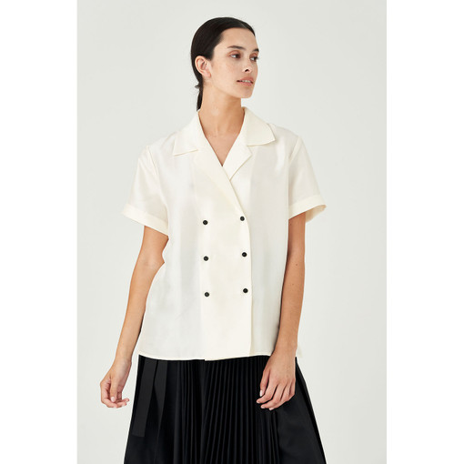 Oroton Silk Double Breasted Camp Shirt in Cream and 100% Silk for female