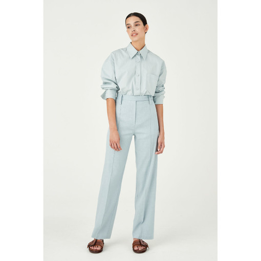 Oroton Cotton-Linen Pintuck Wide Pant in Blue Haze and 65% Linen 34% Cotton 1% Elastane for female