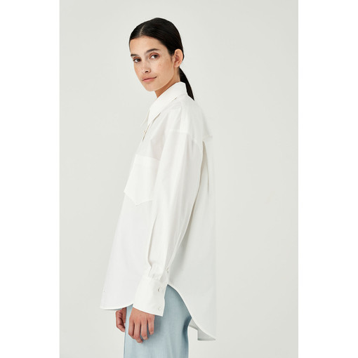 Oroton Cotton Poplin Long Sleeve Shirt in White and 100% Cotton for female