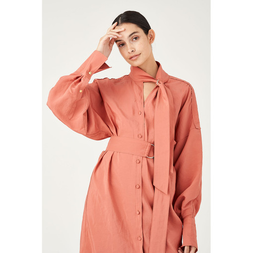 Oroton D-Ring Detailed Shirt Dress in Deco Rose and 75% Viscose 25% Polyester for female