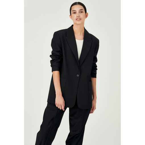 Oroton Wool-Blend Single Breasted Blazer in Black and 84% Wool 11% Nylon 5% Polyester for female