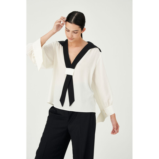 Oroton Silk Tie Detail Blouse in Cream and 100% Silk for female