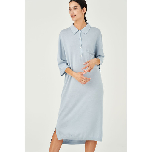 Oroton Wool Polo Knit Midi Dress in Dusty Blue and 100% Wool for female