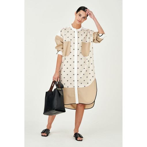 Oroton Signature Print Blocked Shirt Dress in White and Main: 100% Cotton, Bind Trim: 100% Polyester for female