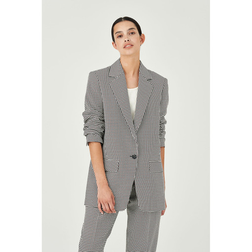 Oroton Micro Check Single Breasted Blazer in Nutmeg and 100% Polyester for female