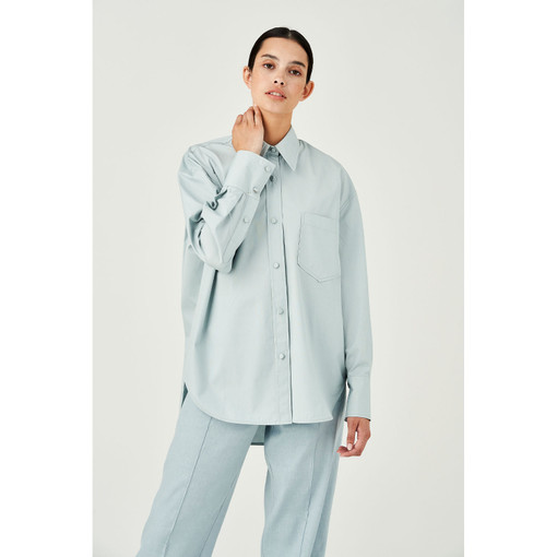 Oroton Cotton Poplin Long Sleeve Shirt in Blue Haze and 100% Cotton for female