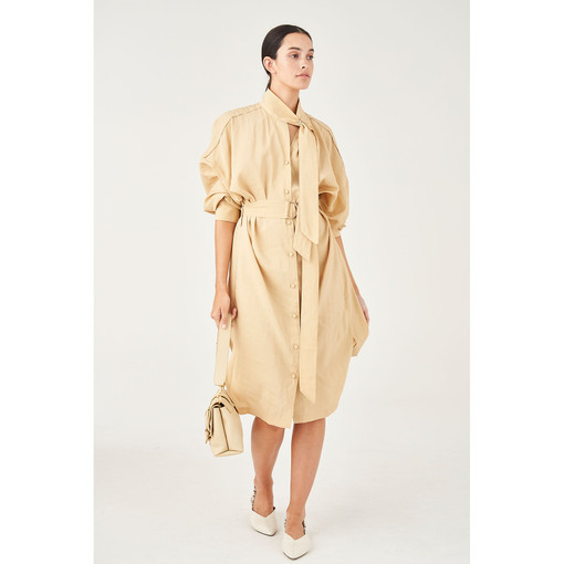 Oroton D-Ring Detailed Shirt Dress in Wheat and 75% Viscose 25% Polyester for female