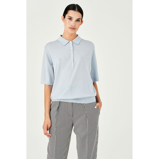 Oroton Wool Short Sleeve Knit Polo in Dusty Blue and 100% Wool for female