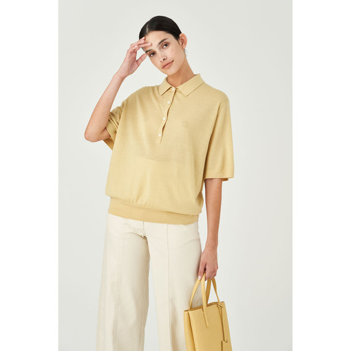 Oroton Wool Short Sleeve Knit Polo in Straw and 100% Wool for female