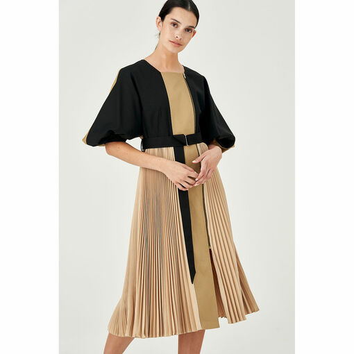 Oroton Colour Blocked Pleated Dress in Tobacco and 100% Cotton (Pleating = 100% Polyester) for female