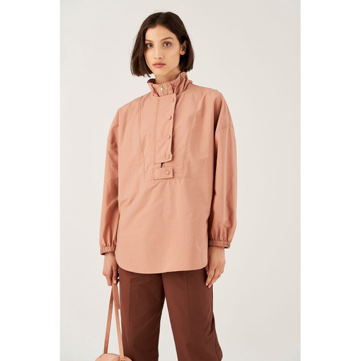 Oroton Poplin Long Sleeve Cagoule in Soft Treacle and 70% Cotton 30% Polyester for female