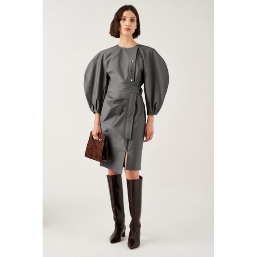 Oroton Cotton-Stretch Full Sleeve Zip Detail Dress in Midnight Charcoal and 97% Cotton 3% Polyurethane for female