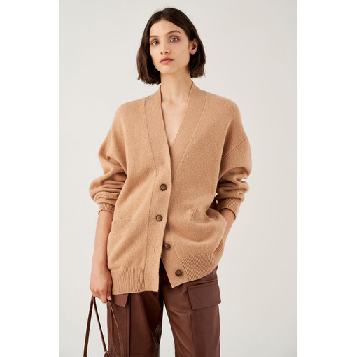 Oroton Wool Belted Cardigan in Soft Treacle and 100% Wool for female