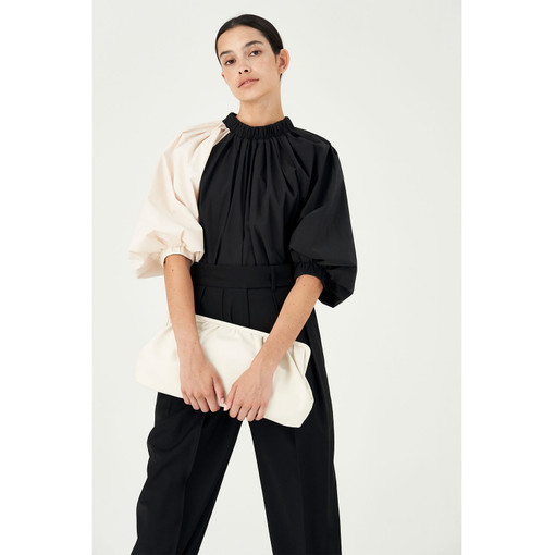 Oroton Cotton Blend Colour Blocked Blouse in Black and 70% Cotton 30% Polyester for female