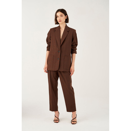Oroton Checked Single Breasted Blazer in Rich Cocoa and 71% Polyester 26% Rayon 3% Spandex for female