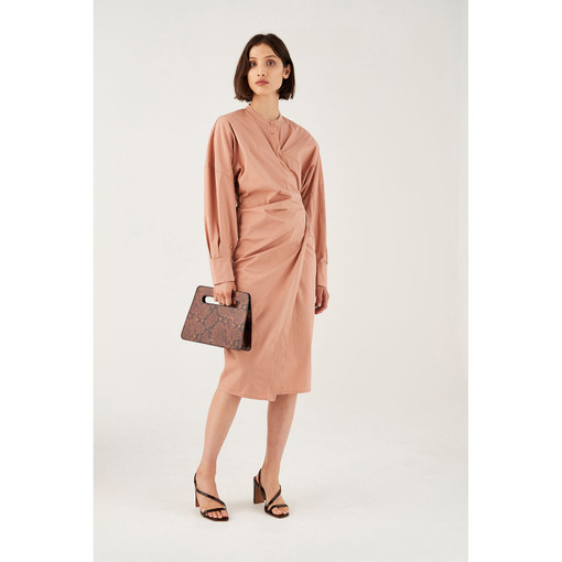 Oroton Stretch-Poplin Long Sleeve Wrap Dress in Soft Treacle and 70% Cotton 30% Polyester for female