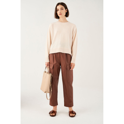 Oroton Wool Crew-Neck Knitted Sweater in Almond and 100% Wool for female