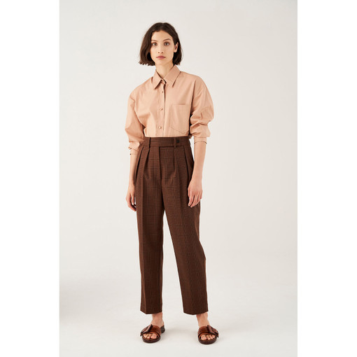 Oroton Checked Pleat Front Pant in Rich Cocoa and 71% Polyester 26% Rayon 3% Spandex for female