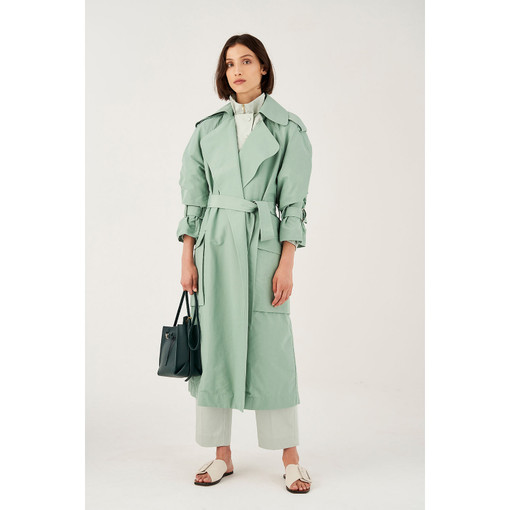 Oroton Cotton Nylon Belted Trench Coat in Dark Mint and 64% Cotton 36% Nylon for female