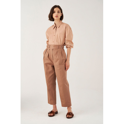 Oroton Cotton Buckle Detail Pleat Front Pant in Mink and 100% Cotton for female