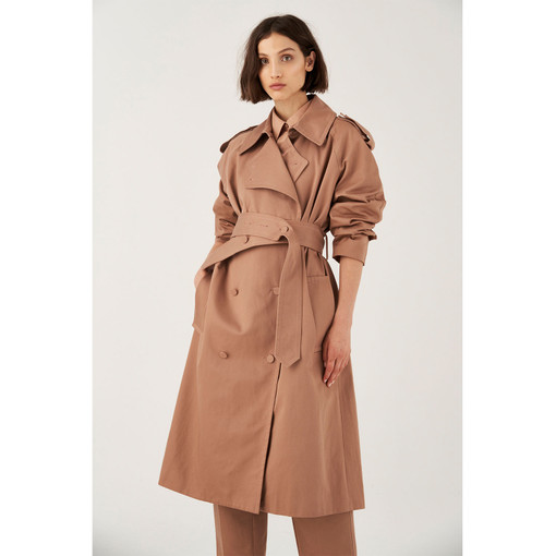 Oroton Cotton Nylon Button Detail Trench Coat in Mink and 100% Cotton for female