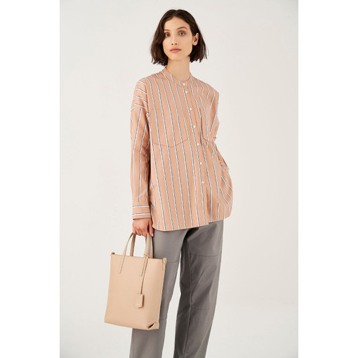 Oroton Striped Cotton Long Sleeve Shirt in Pink Clay Stripe and 100% Cotton for female