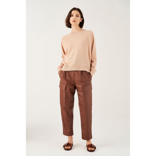 Oroton Wool Crew-Neck Knitted Sweater in Blush and 100% Wool for female