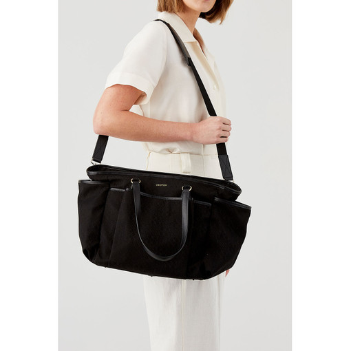 Oroton Signet Babybag in Black and Jacquard Fabric / Vachetta Leather for female