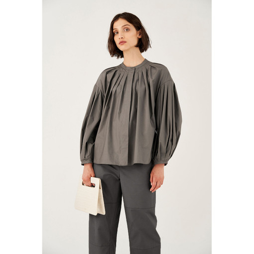 Oroton Cotton Tuck Detail Full Sleeve Shirt in Midnight Charcoal and 100% Cotton for female