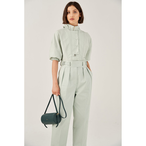 Oroton Cotton Buckle Detail Pleat Front Pant in Winter Mint and 100% Cotton for female