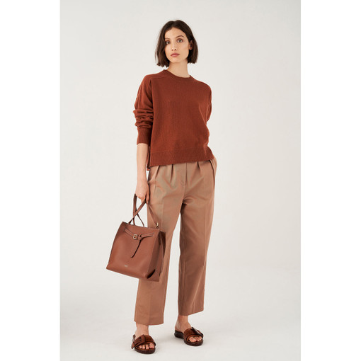 Oroton Wool Crew-Neck Knitted Sweater in Rich Cocoa and 100% Wool for female