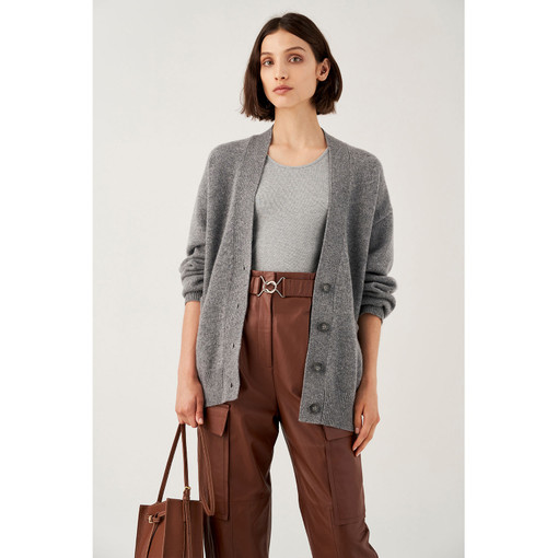 Oroton Wool Belted Cardigan in Grey Marle and 100% Wool for female