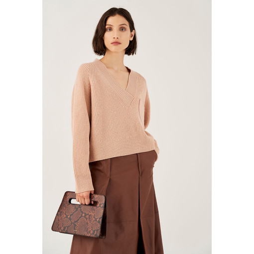 Oroton Wool V-Neck Rib Knit Sweater in Blush and 100% Wool for female